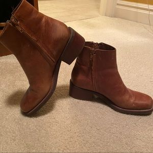 Nicole Brown Ankle Booties with Side Zippers